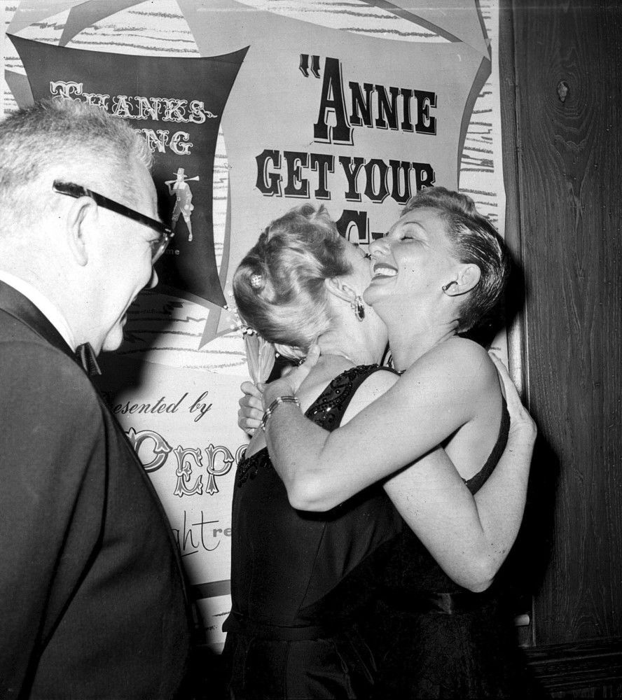 October 1957. At the NBC premiere of 'Annie Get Your Gun' with Al Steele and Mary Martin.