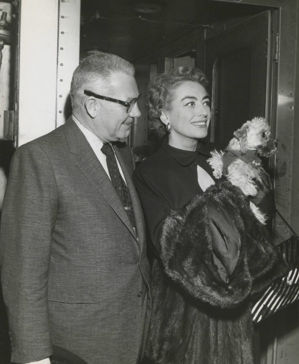 1955 with new husband Al Steele at unknown train station.