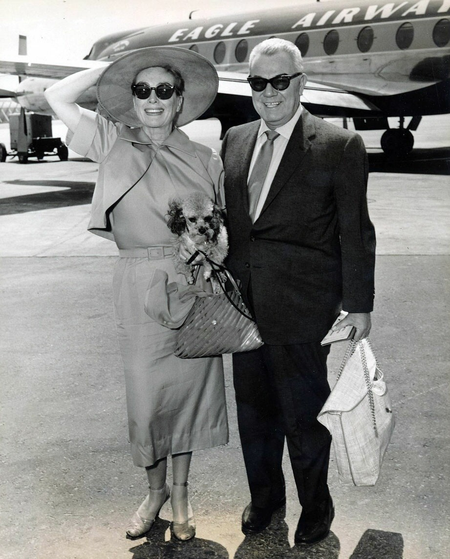 1957. At NY International Airport with Al Steele.