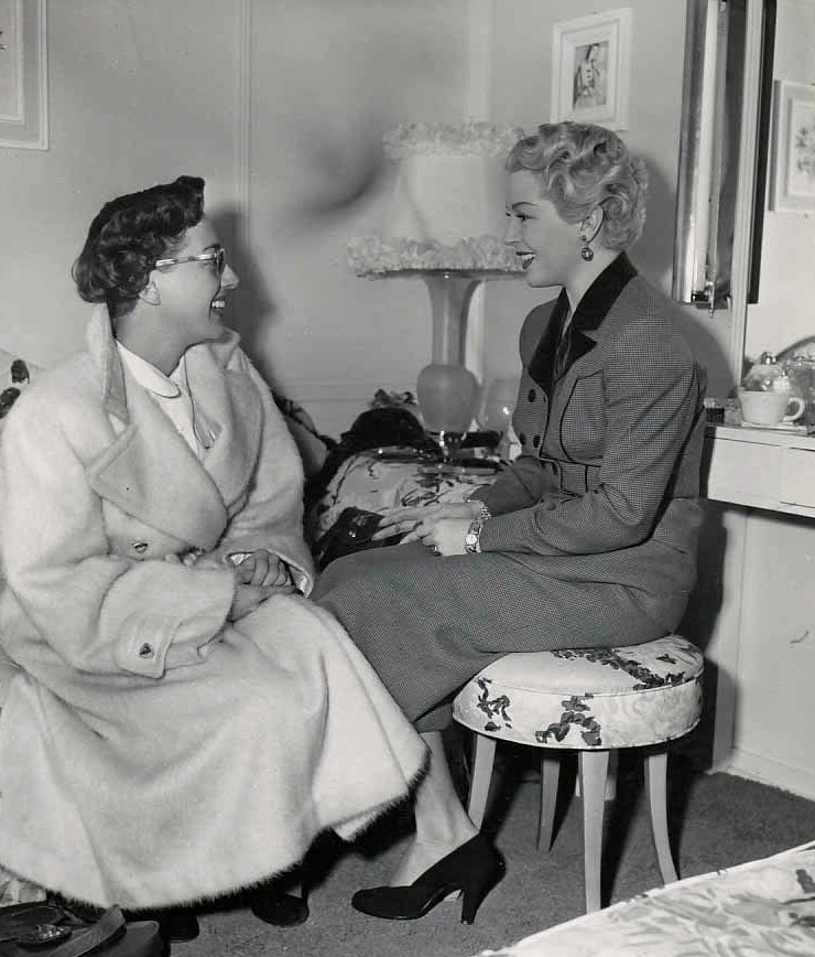 1950. With Lana Turner on the set of Turner's 'A Life of Her Own.'