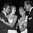 September 1951. At Mocambo, with Tony Curtis, Janet Leigh, and Cesar Romero for a Damon Runyan cancer benefit.