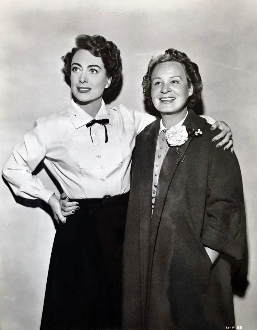 1952. On the set of 'Sudden Fear' with Shirley Booth.