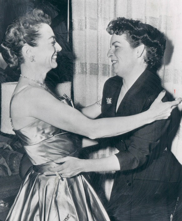 10/23/53. With Mercedes McCambridge at the 'Torch Song' premiere party.