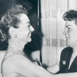 10/23/53. With Mercedes McCambride at the 'Torch Song' premiere party.