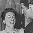 1953. Joan visits Robert Taylor on the set of 'All the Brothers Were Valiant,' a remake of Joan's 1928 silent film, 'Across to Singapore.'
