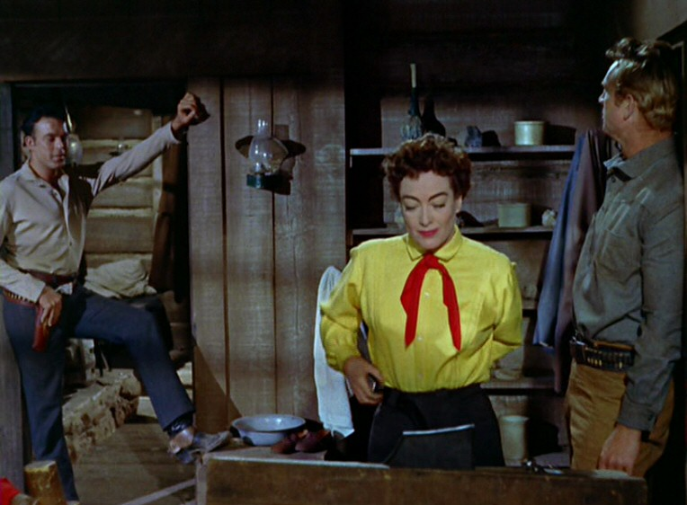 1954. 'Johnny Guitar' screen shot with Scott Brady and Sterling Hayden.