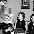 1955. On the set of 'Queen Bee' with William Leslie, left, and director MacDougall.