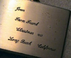 Sinatra's inscription on bottom of case.