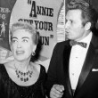 October 1957, with John Raitt and his wife at the NBC premiere of 'Annie Get Your Gun.'