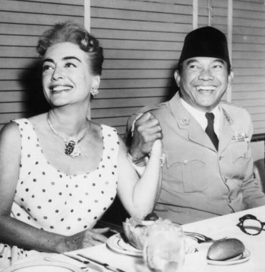 June 1959. With Indonesian president Sukarno on the 20th Century Fox lot.