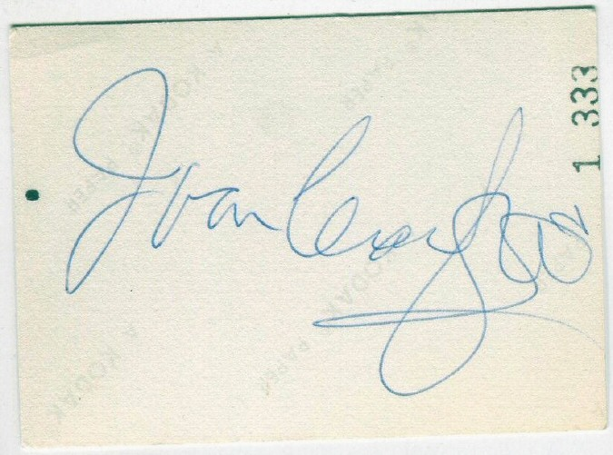 Autograph from back of above candid.