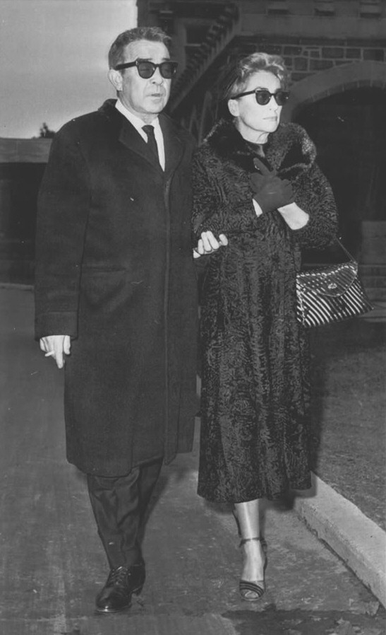 January 4, 1960. With writer Mel Dinelli at Margaret Sullavan's funeral in Greenwich, CT.