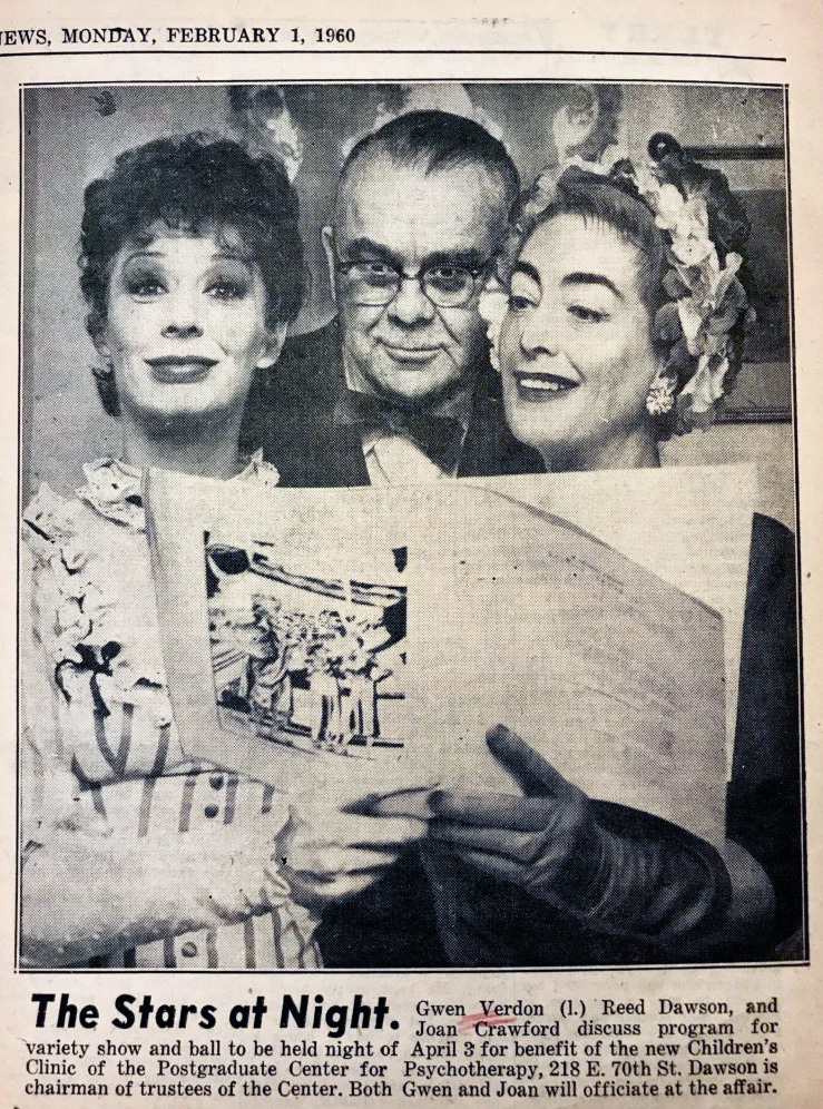 February 1960. With Gwen Verdon and Reed Dawson.