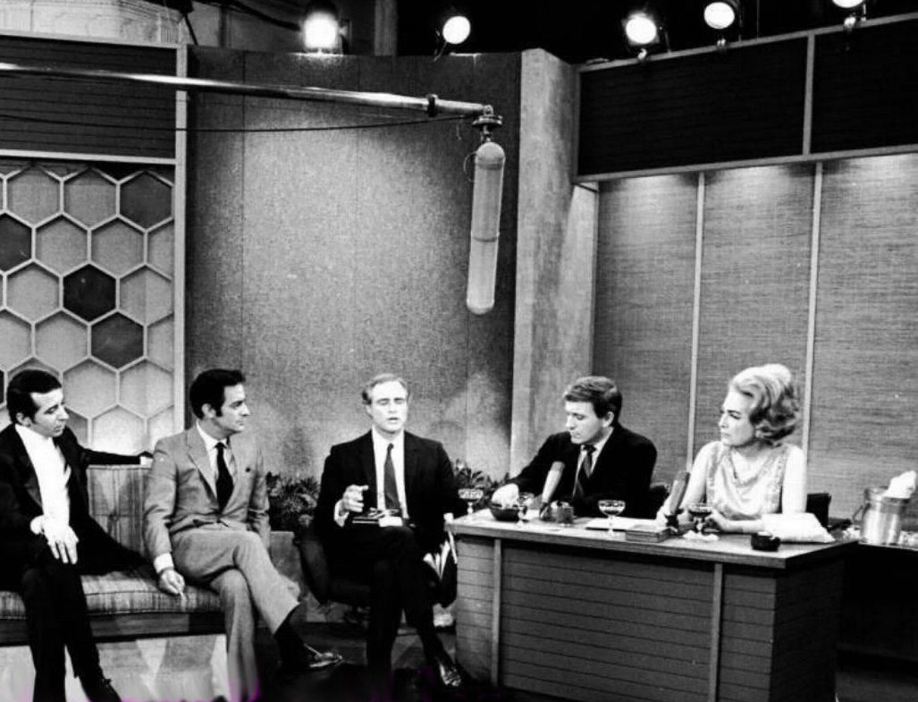 1968 on the 'Merv Griffin Show' with Merv and Marlon Brando (center).