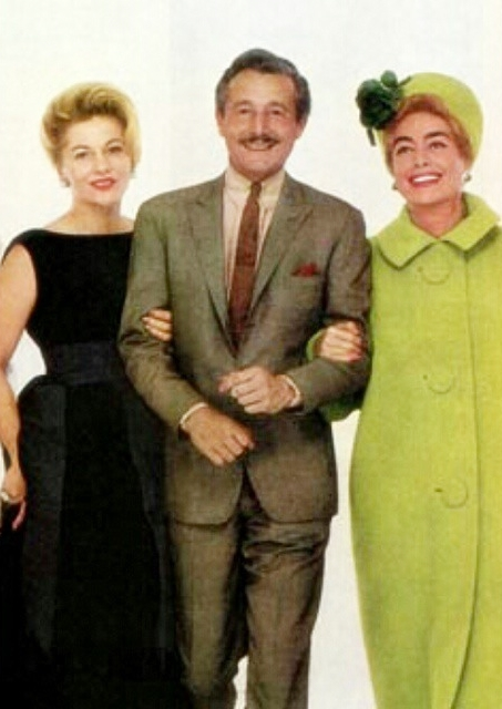 1962. With Oleg Cassini and Joan Fontaine.