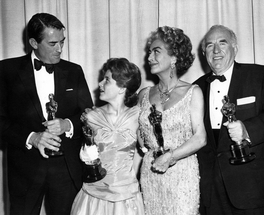 At the 4/8/63 Oscars with Gregory Peck, Patty Duke, and Ed Begley.