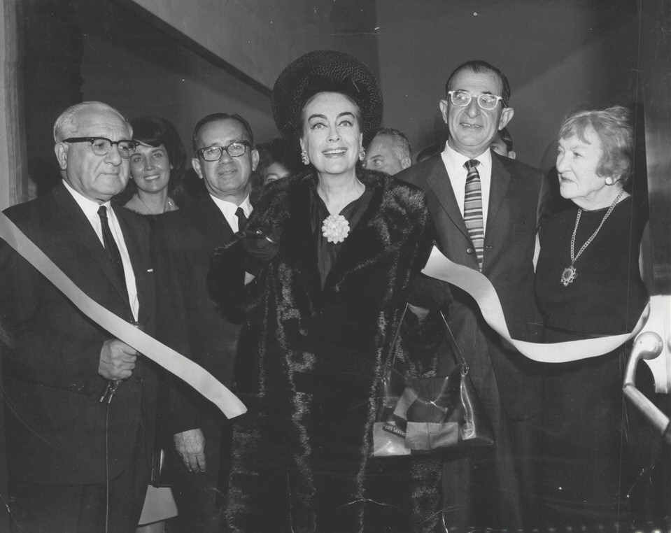 10/12/65. Opening the Joan Crawford Dance Studio at the Spingold Theatre Arts Center at Brandeis. Pepsi's Herb Barnett and Frances Spingold to right.