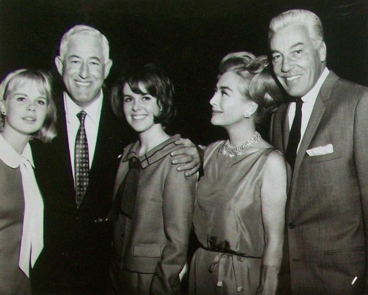 1965. On the set of 'I Saw What You Did' with co-stars, director William Castle, and friend Cesar Romero.