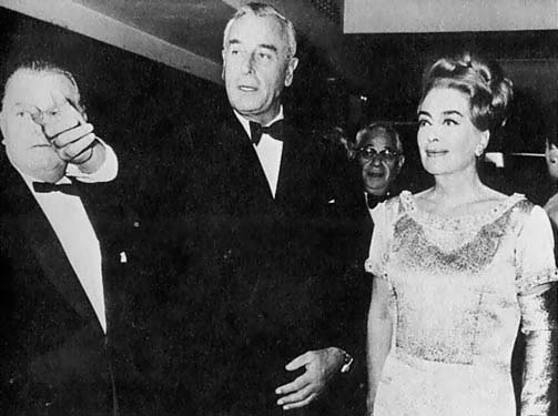 1965, with Sir Billy Butlin (left) and Lord Mountbatten.