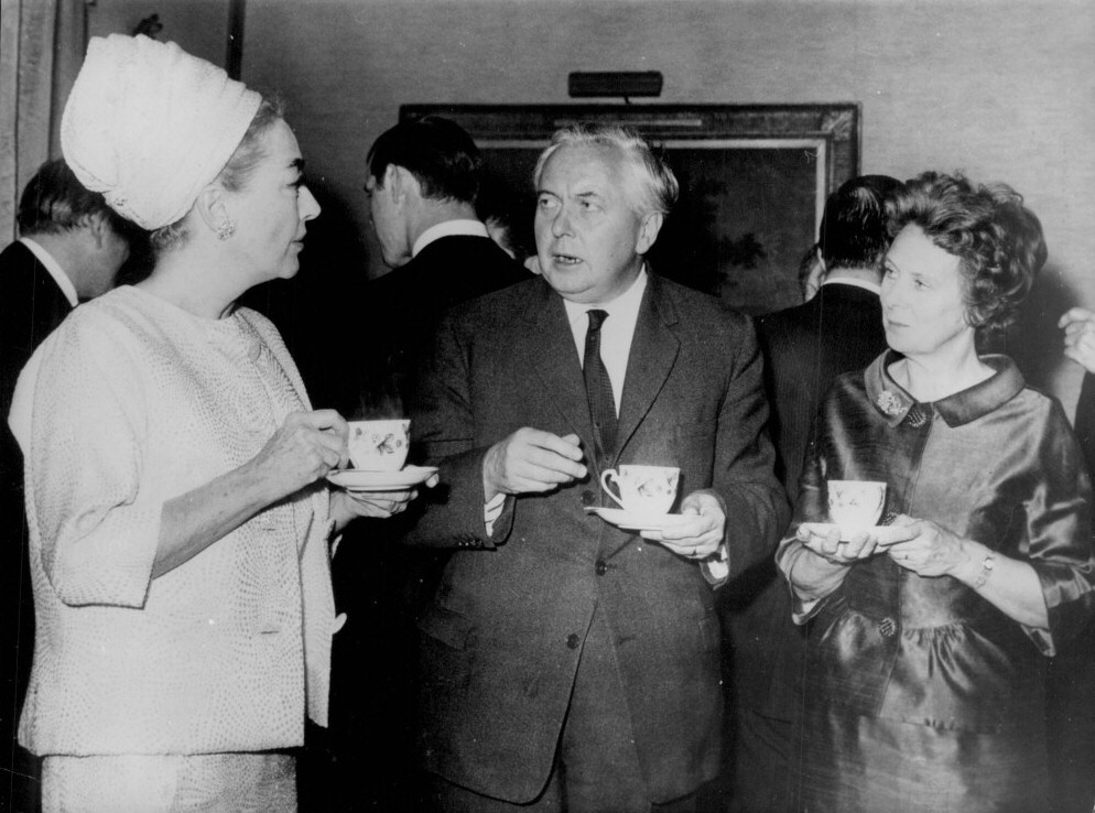 April 1966. With Prime Minister Harold Wilson and wife Mary at 10 Downing St.