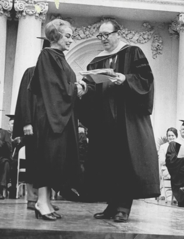 May 1966. Receiving her Honorary Associate in Arts degree from Vernon Court Jr. College (Newport, RI). With president Franklyn Ashley.
