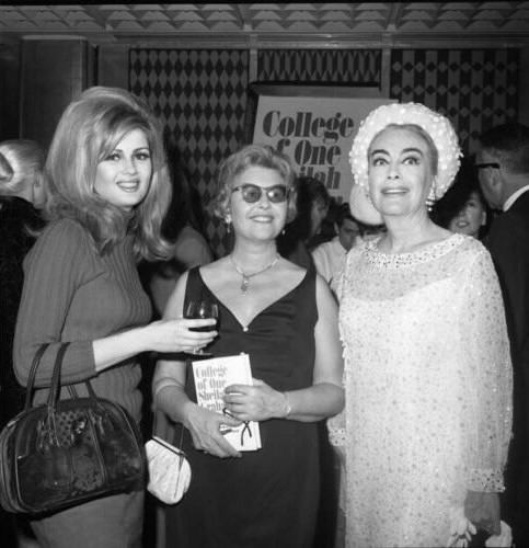 February 28, 1967. With Pamela Tiffin and Sheilah Graham at Graham's 'College of One' book release at L'Etoile.