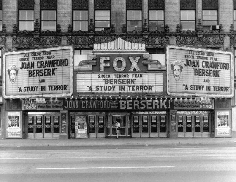 1968. A Fox marquee for 'Berserk.'