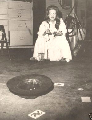 January 1970. Joan tossing cards on the set of 'The Virginian.'