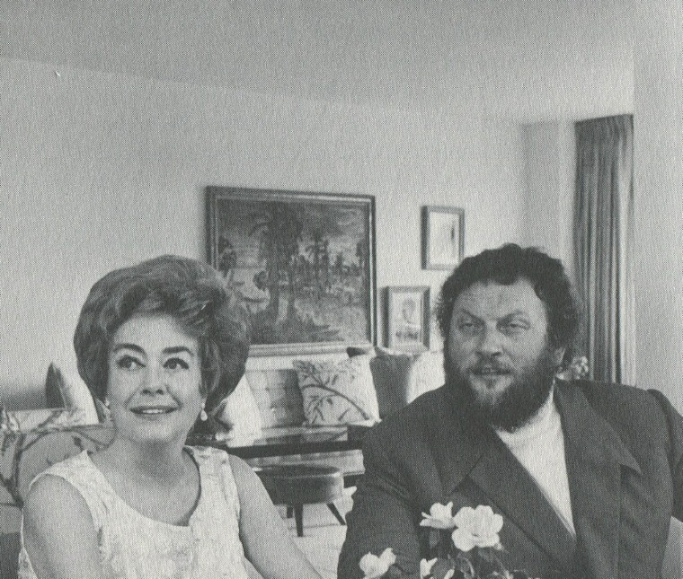 1971. At her Imperial House apt. with Russian baritone Ivan Rebroff. (Thanks to James Bruce for the photo.)