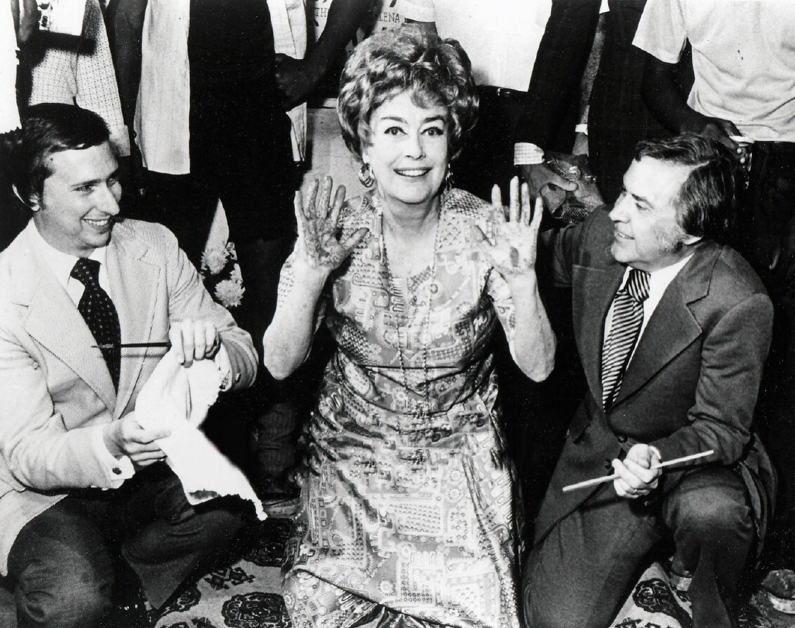 September 1971. Placing her handprints at Theatre 80 in NYC. With Arnold White, left, and Howard Otway.