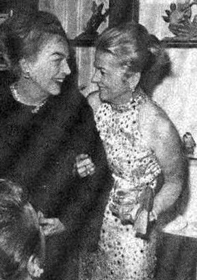 Joan with Joan Fontaine at Tallulah book party, November 1972.