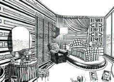 'Joan Crawford's Bedroom.' 22 x 28 etching by Bruce McCombs.