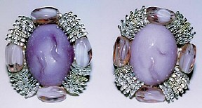 Joan's lavendar and silver earrings. Being auctioned online 9/05.