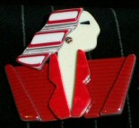 Lea Stein pin. Sold in various colors from '68 to '80 as 'Carmen' in France and as 'Joan Crawford' in the US.