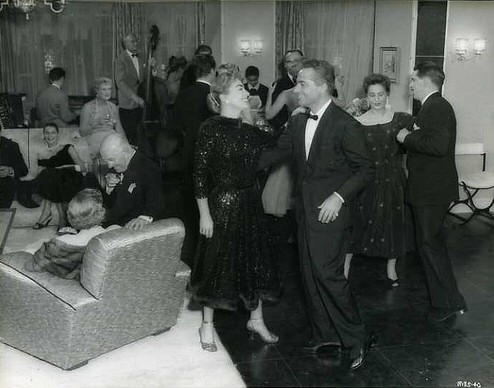 1957. 'Esther Costello' party. With Rossano Brazzi.