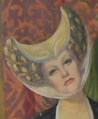 From a medieval-style mural of Hollywood stars by Russian artist V. Ignatieff, commissioned by Paul Bern for his new wife Jean Harlow in 1932.  See www.jeanharlowmural.com for more complete info.