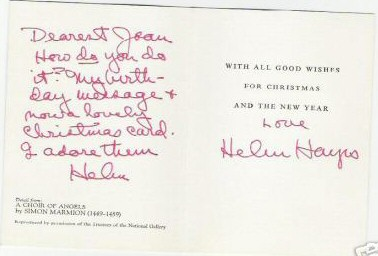 Christmas card from Helen Hayes.