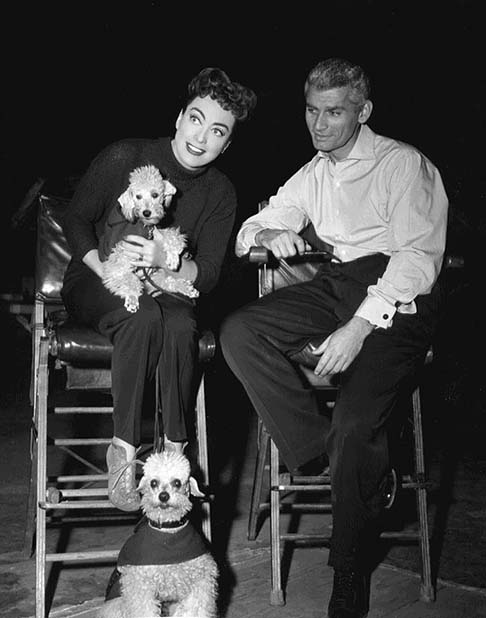 On the 'Female' set, with Jeff Chandler.