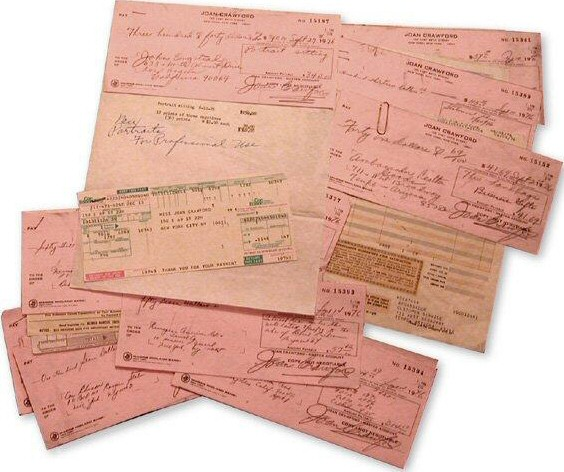 A batch of checks written in 1976.