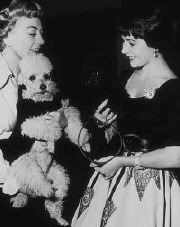 Joan and Liz on the 'Torch Song' set, 1953.