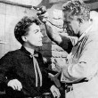 With director Nicholas Ray on the 'Johnny Guitar' set.