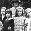 Joan, the tall girl at back, at St. Agnes Academy, 1918.