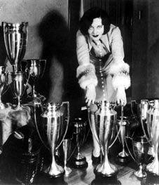 A 1925 publicity shot, with trophies won from dance contests at local Hollywood clubs.