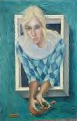 By Margaret Keane, seen in Joan's apartment. Title unknown.