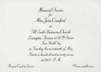Invitation to the New York memorial service.