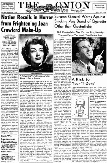 A mock 'Onion' article, allegedly from 1946. Click on photo to read. (2000s)