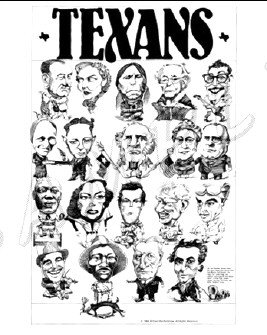 A Famous Texans poster by Richard Bartholomew. Joan is on the second row from bottom, second from left.