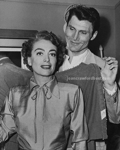 1952. On the set of 'Sudden Fear,' with Jack Palance.