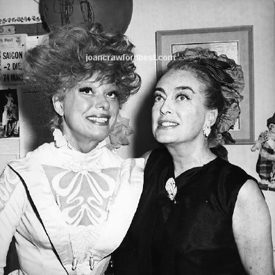 June 17, 1965. Joan with Carol Channing backstage at 'Hello Dolly!'