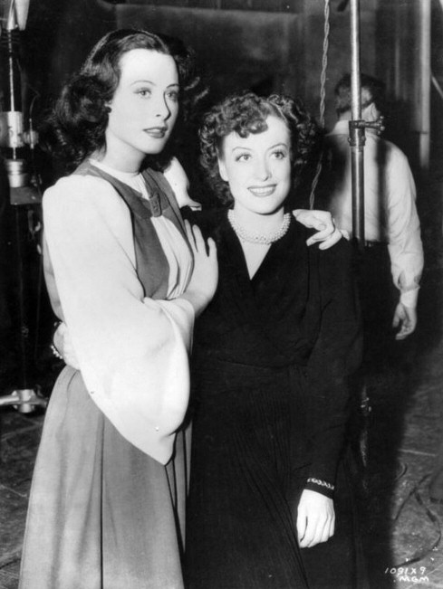 1939. On the set of 'The Women' with Hedy Lamarr.